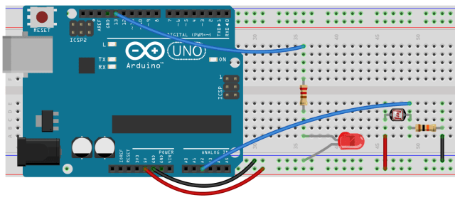 Arduino with LED and Photoresisotr