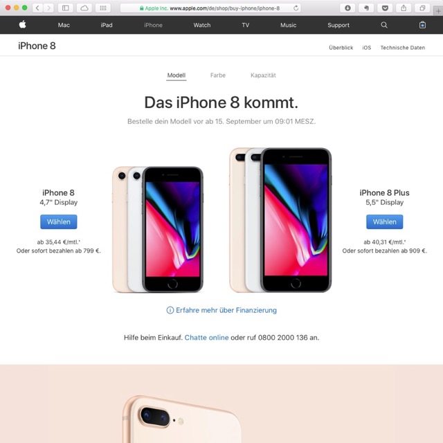 iPhone 8 und iPhone 8 Plus auswählen