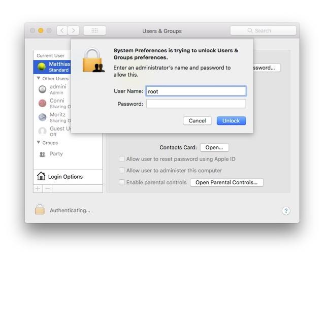 macOS High Sierra - root ID