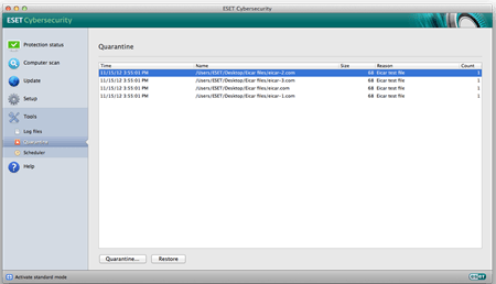 Mac_On-Demand scan quarantine list