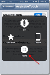 AssistiveTouch commands - screen 1