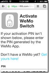 Activate WeMo switch