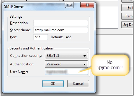 Correct SMTP information in Postbox