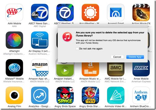 Restore a Previous Version of an iOS App - delete confirmation