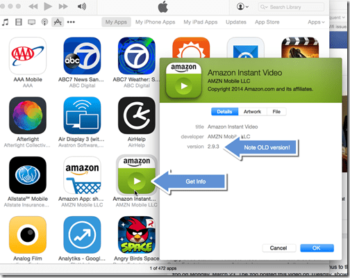 Restore a Previous Version of an iOS App - get info on old app