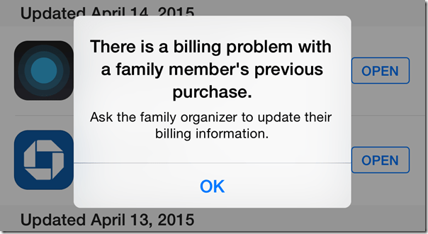 HTD - There is a billing problem with a family member's previous purchase