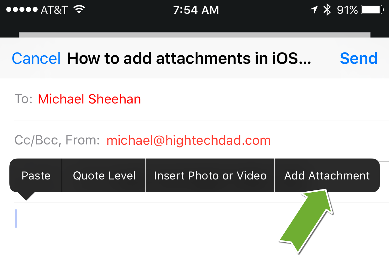 Add Attachment To Iphone Email tip: how to add attachments in ios 9 email - hightechdad™