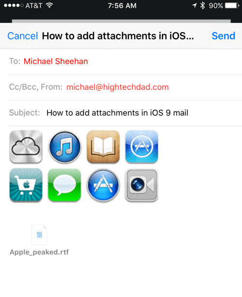 HTD Tip: How To Add Attachments in iOS 9 Email - files attached