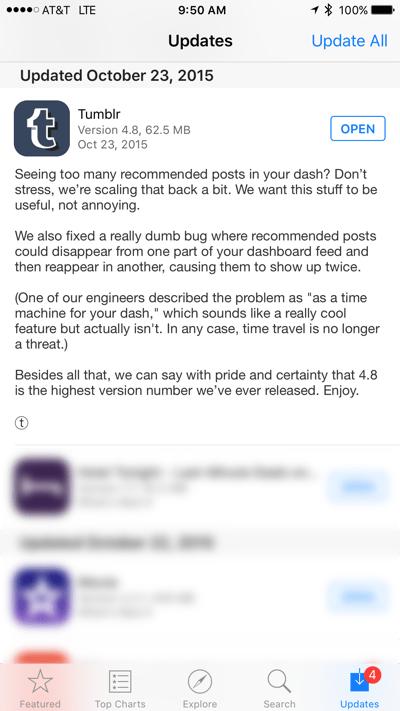 Tumblr bug fix list