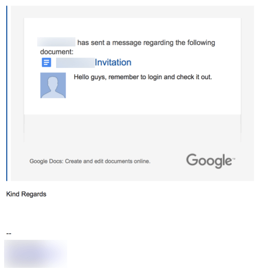 HTD Google Docs Phishing Scam - email