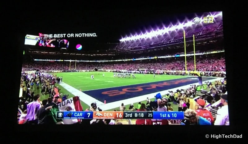 HTD Camping Theater with AAXA P5 Pico Projector - Super Bowl 50 projected in tent