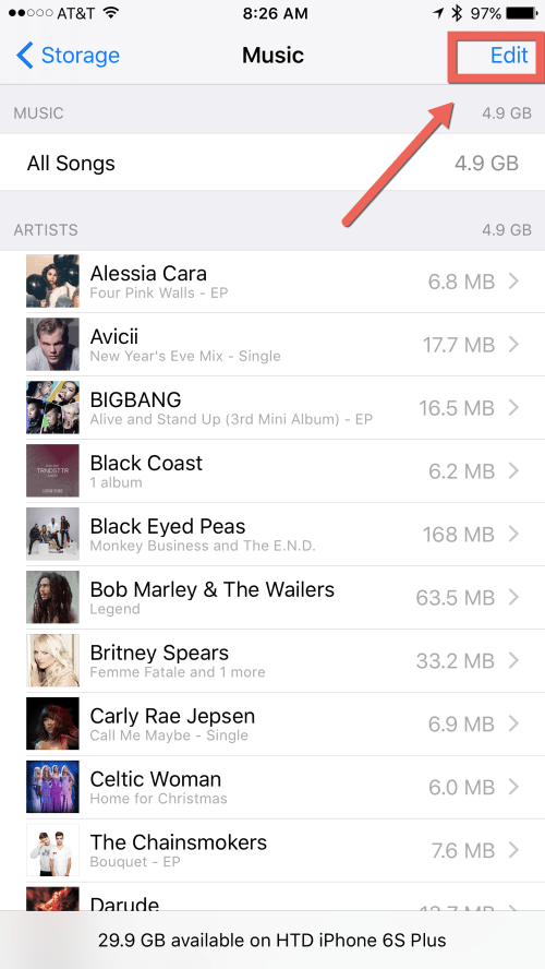HTD Bulk Delete Music from iOS - Edit Music storage