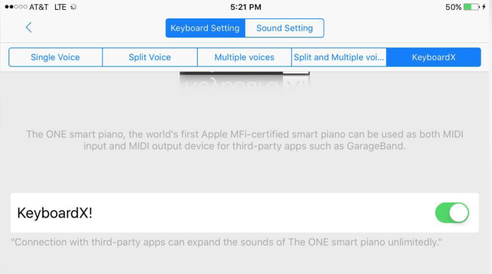 The ONE smartpiano keyboard - KeyboardX! settings