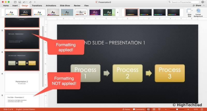 HTD PowerPoint Design - formatting partially applied