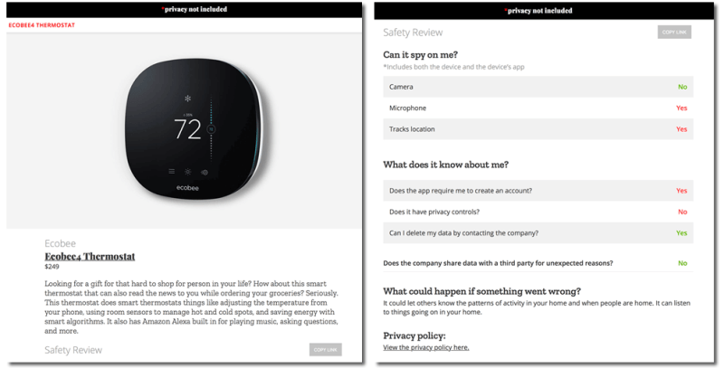 HTD Mozilla *privacy not included - ecobee4