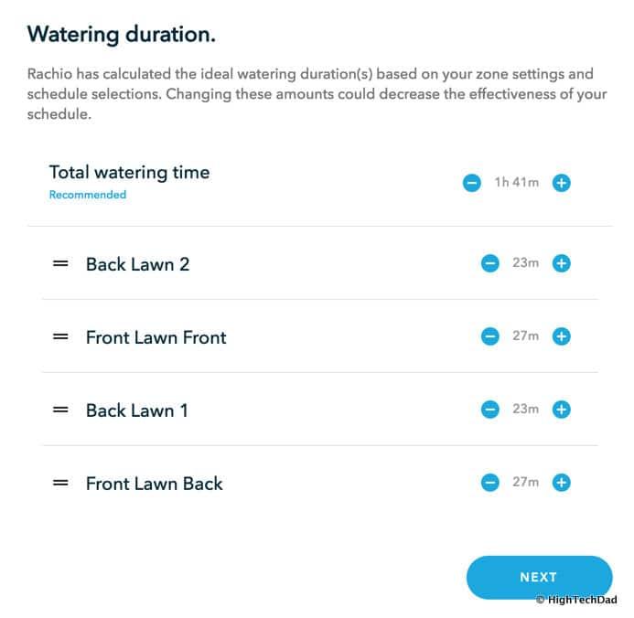 HTD Rachio Gen3 Review - watering durations
