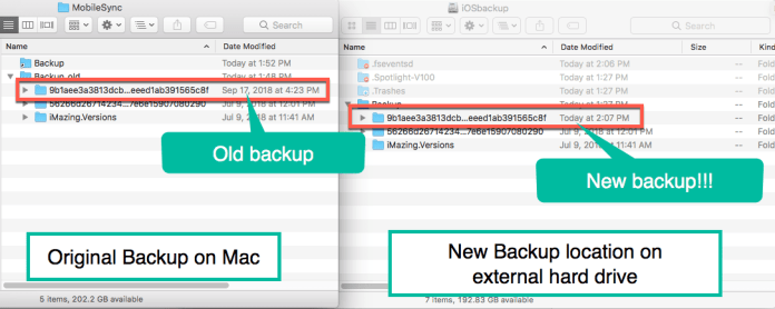 HighTechDad Change iOS Backup Location in iTunes - old and new backups