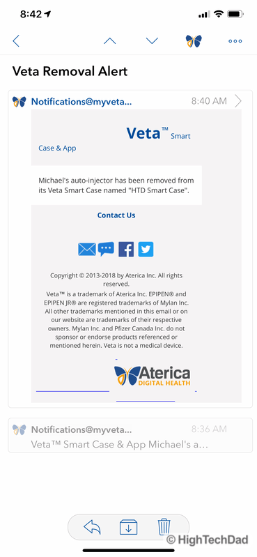 HighTechDad review Aterica Veta Smart Case for EPIPENS - email removal alert