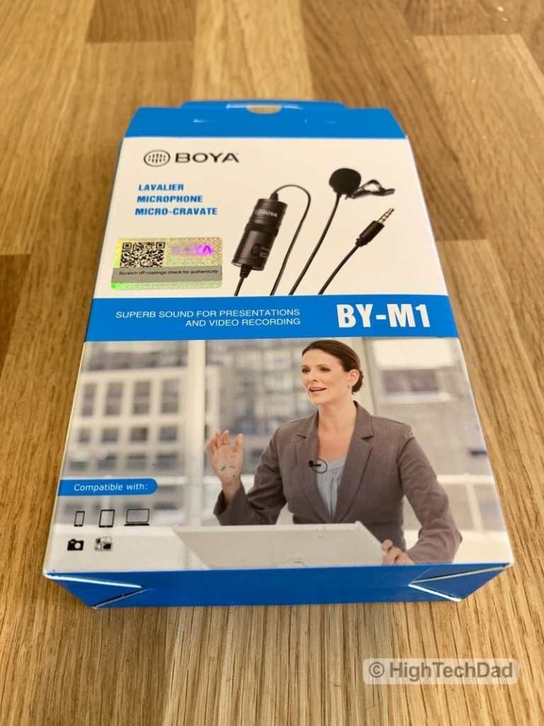 HighTechDad reviews BOYA BY-M1 lavalier mic - box