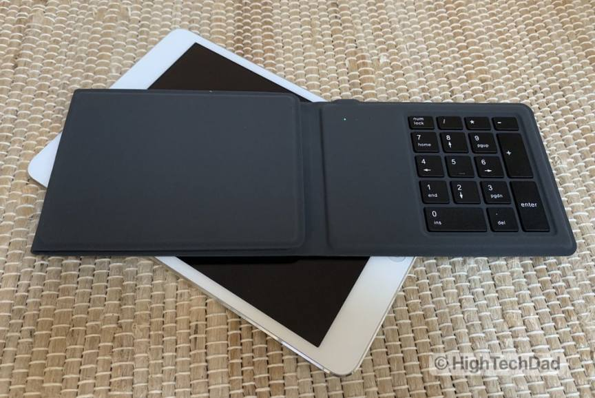 HighTechDad Kanex Foldable Bluetooth Travel Keyboard review - partially open with green light