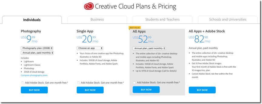 Adobe Creative Cloud pricing