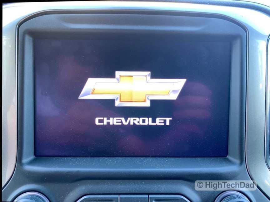 HighTechDad Review 2019 Chevy Silverado - Chevy logo on screen