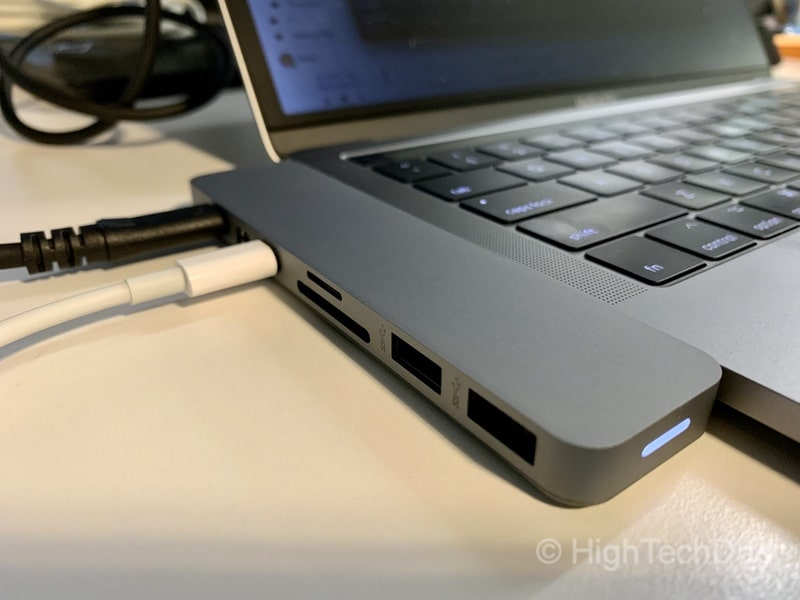 HighTechDad review of HyperDrive PRO 8-in-2 USB Type-C hub - plugged in