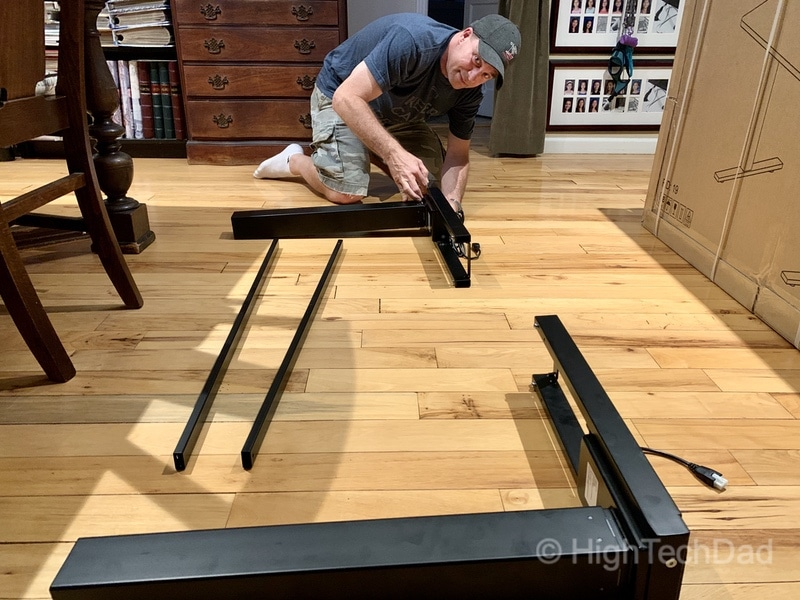 HighTechDad review of Autonomous Smart Desk 2 sit-stand desk - putting the desk together