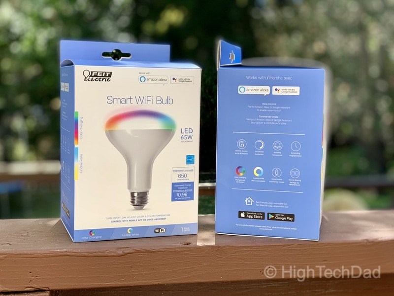 HighTechDad reviews Feit smart, WiFi floodlight bulbs - in the box