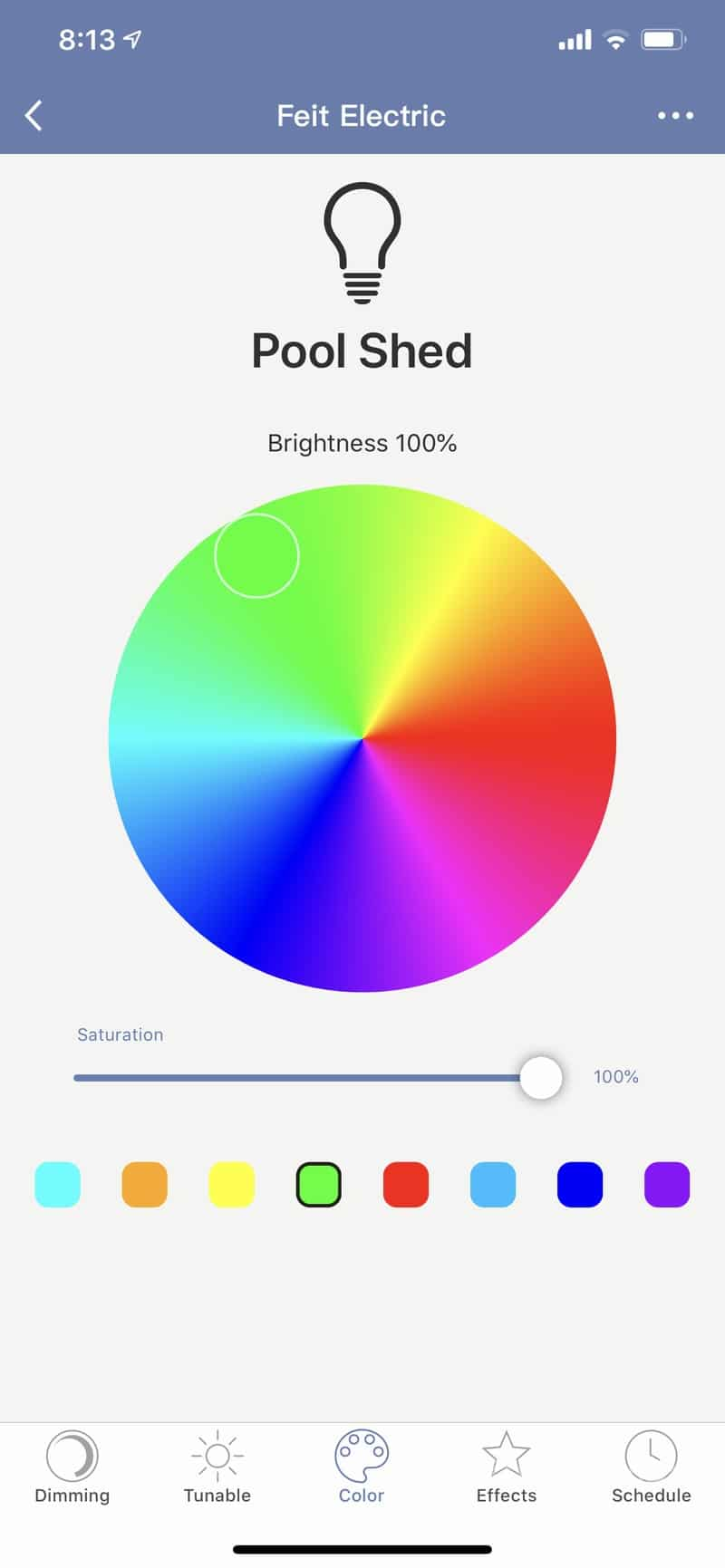HighTechDad reviews Feit smart, WiFi floodlight bulbs - color wheel