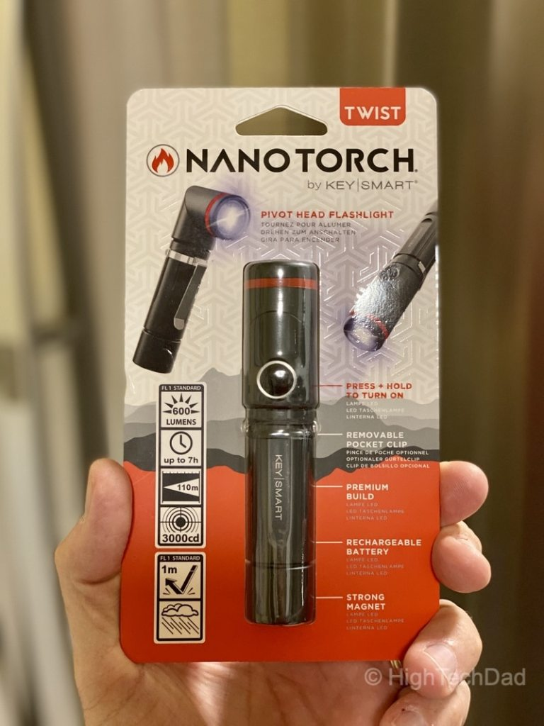HighTechDad reviews KeySmart NanoTorch Twist LED flashlight - in the package