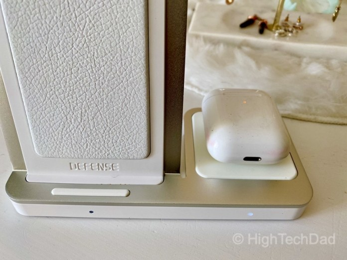 HighTechDad review - Defense Vertical Duo wireless charger - close up of AirPods charging