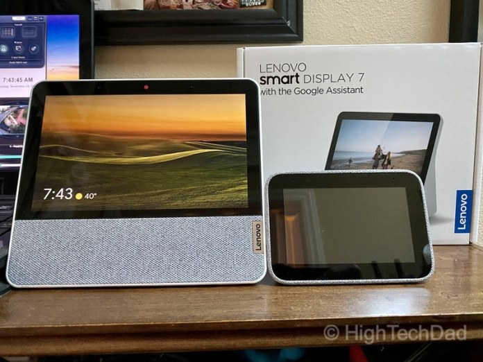 HighTechDad review: Lenovo Smart Display 7 - next to Lenovo Smart Clock