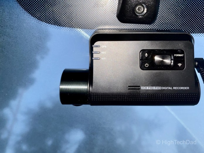 Thinkware dashcam mounted to window - HighTechDad