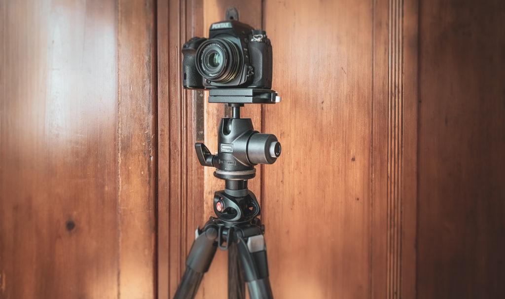 Camera on tripod with camera mount