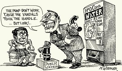 Water privatization, cartoon