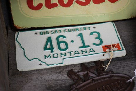 License plate for sale at Summit Coffee and Cafe in Ennis, MT