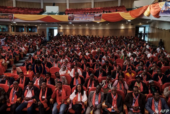 A picture shows a general view of attendees at the Tigray People's Liberation Front (TPLF) First Emergency General Congress in Mekelle, Ethiopia, on Jan. 4, 2020.