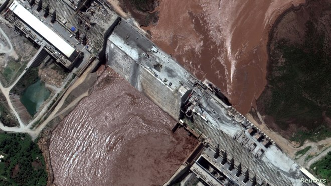 A handout satellite image shows a closeup view of the Grand Ethiopian Renaissance Dam (GERD) and the Blue Nile River in Ethiopia, June 26, 2020.