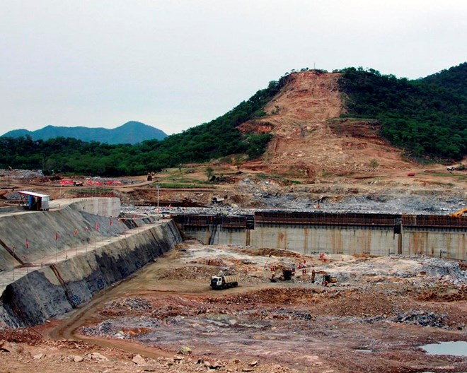 """This June 28, 2013 file photo, shows construction work at the site of the planned Grand Ethiopian Renaissance Dam near Assosa in the Benishangul-Gumuz region of Ethiopia, near Sudan, some 800 kilometers (500 miles) from the capital Addis Ababa. Egypt wants the United Nations Security Council to """"undertake its responsibilities"""" and prevent Ethiopia from starting to fill its massive, newly built hydroelectric dam on the Nile River next month amid a breakdown in negotiations, Egyptian Foreign Minister Sameh Shukry told The Associated Press on Sunday, June 21, 2020 accusing Ethiopian officials of stoking antagonism between the countries.  ELIAS ASMARE, FILE / AP PHOTO"""