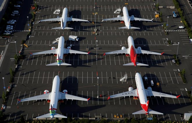 Boeing 737 Max aircraft are parked in a parking lot at Boeing Field in this aerial photo taken over Seattle, Washington, U.S. June 11, 2020. REUTERS/Lindsey Wasson