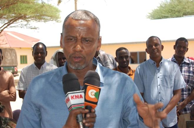 BLAMING COPS: Fafi MP Abdikarim Osman speaking on Sunday after donataing motorcycles to youths in Bura town. Image: STEPHEN ASTARIKO