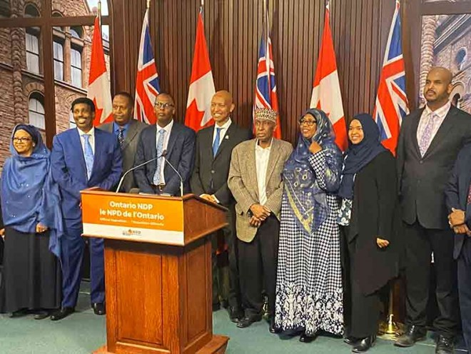 NDP MPP Faisal Hassan and members of Toronto's Somali community at a press conference on March 10, 2020. Faisal Hassan Twitter