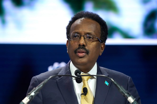 President of Somalia Mohamed Abdullahi Mohamed speaks onstage during the 2019 Concordia Annual Summit in New York City on September 23, 2019. CPJ, Human Rights Watch, and Amnesty International are calling on the president to revisit a restrictive media law. (Getty Images/Riccardo Savi)