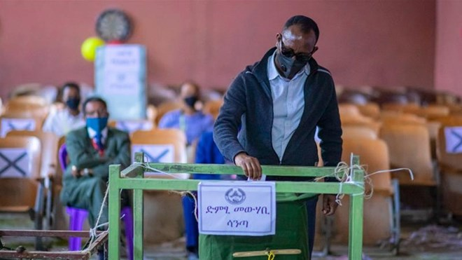 A man casts his vote in the local election in regional capital Mekelle, Tigray region of Ethiopia [Associated Press]