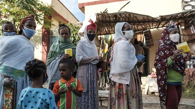 Voters are seen at a polling station during Tigray's regional elections in the city of Mekele, Ethiopia [Eduardo Soteras/AFP]