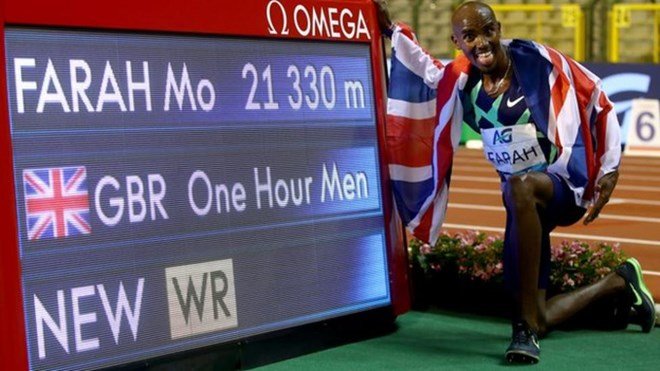 Mo Farah broke the one-hour world record on his return to the track in Brussels earlier in September