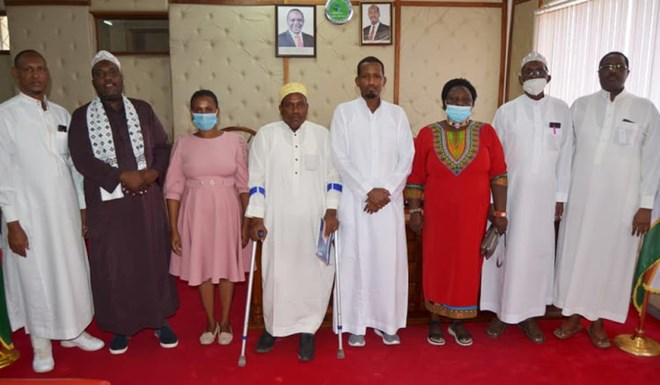 FGM WAR: Wair Deputy Governor Ahmed Mukhta (4th R), Anti-FGM Board chairperson Agnes Pareiyo (3rd R) and senior county officials during a sensitisation meeting.Image: STEPHEN ASTARIKO