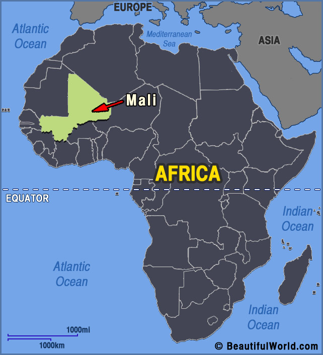 Interesting facts on Mali: Map