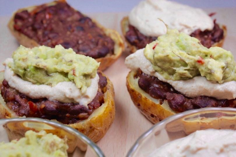 Patatas rellenes estilo mexicano anacardos guacamoles